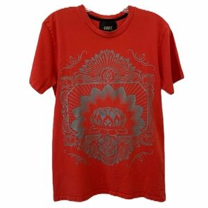 Obey Vintage Graphic Red Single Stitch Tee - Small